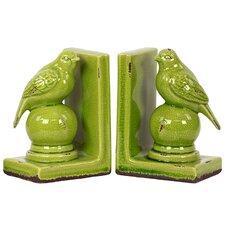 Stylish Stoneware Bird Bookend (Set of 2)