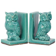 Alluring Stoneware Owl Bookend (Set of 2)
