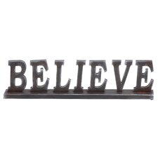 "Simple Table with Word ""Believe"" Letter Block"