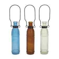 Simple Glass Metal Bottle Vase (Set of 3)