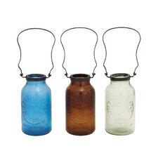 Stylish Glass Metal Bottle Vase (Set of 3)