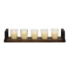 Classy Wood Metal Glass Candle Holder