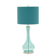 "Glass Chrome 29"" H Table Lamp with Drum Shade"