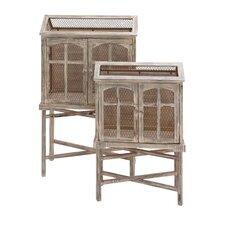 2 Piece Beautiful Wood Metal Bird Cage Set
