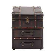 Rich Leather Side Table Chest