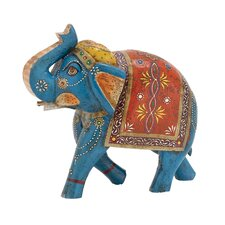 The Inspiring Wood Painted Elephant Figurine