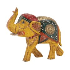 Attractive and Ethnic Wood Metal Painted Elephant Figurine