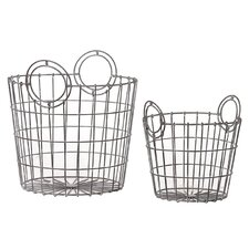 2 Piece French Market Bag Replica Metallic Wire Mesh Basket Set
