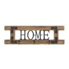 """Home"" Fir Wood Veneer and Iron Coat Rack"