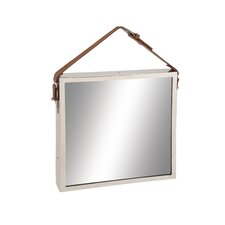 Traditional Styled Stainless Steel Leather Wall Mirror
