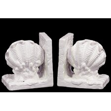 Neat and Gorgeous Ceramic Sea Oyster Shell Book Ends (Set of 2)