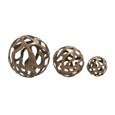 3 Piece Aluminum Decorative Ball Sculpture Set
