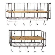2 Piece Metal Wood Wall Shelf Hook Set