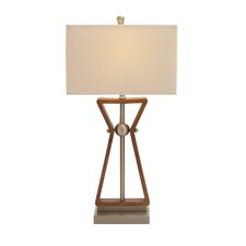 "Wood Stainless Steel Task 32"" H Table Lamp with Rectangular Shade"