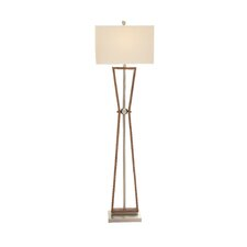 "Wood Stainless Steel 62"" Floor Lamp"