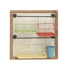 Exclusive Metal Wood Wall Storage Rack