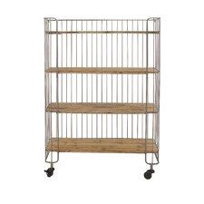 Modernly Designed Metal Wood Storage Shelf Kitchen Cart