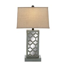 """Wood Mirror 28"""" H Table Lamp with Rectangular Shade"""