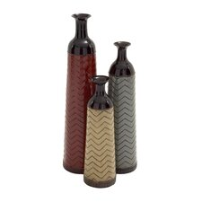 3 Piece Simply Distinctive Metal Vase Set