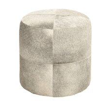 Off-White Color Fancy Leather Ottoman