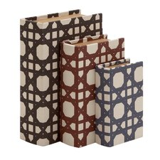 3 Piece Beautiful and Trendy Wood Vinyl Book Box Set