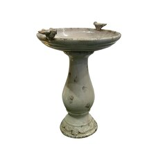 Ceramic Bird Bath with 2 Bird