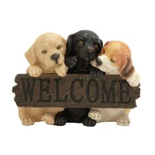 Adorable Puppy Welcome Sign Statue