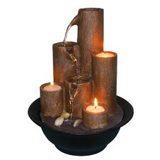 Resin and Stone Tabletop with Three Candles Tiered Fountain