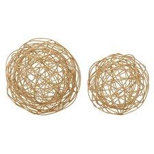 2 Piece Wire Orb Sculpture Set