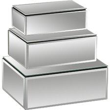 The Prized 3 Piece Wood/Mirror Jewelry Box Set