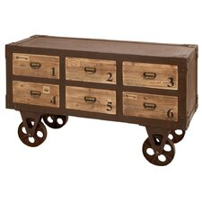 Metal Wood 6 Drawer Chest