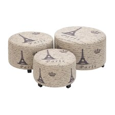 Handcrafted 3 Piece Ottoman Set in Light Brown