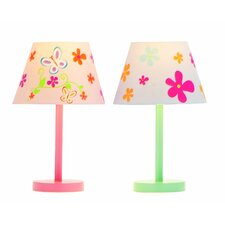 """2 Piece Butterfly and Flower 16"""" H Table Lamp Set with Empire Shade"""