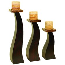 3 Piece Wood Candlestick Set