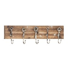 Wood & Metal 5 Hook Coat Rack