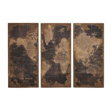 Assorted Map 3 Piece Graphic Art Plaque Set