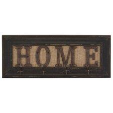 "Rustic ""Home"" Wood & Metal Coat Rack"