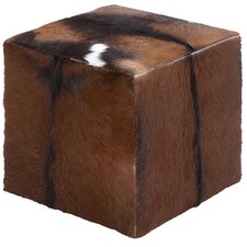 Wooden Goat Leather Covered Stool