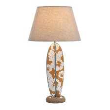 "Unique Surfboard Wooden 25"" H Table Lamp with Empire Shade"