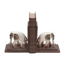 Traditionally Sculpted Polystone Elephants Wooden Book Ends (Set of 2)