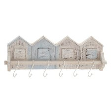 Home-Shaped Wood and Metal Wall Hooks