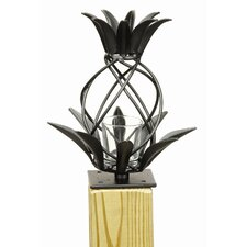 Iron and Glass Pineapple Lantern with Threaded Bottom Statue