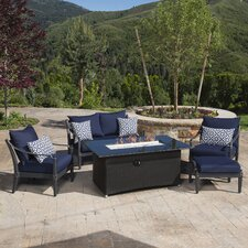 Astoria Love and Club 5 Piece Seating Group with Cushions & Fire Table