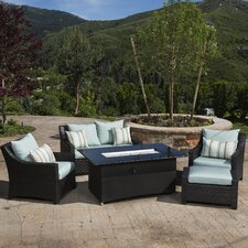Deco Love and Club 5 Piece Seating Group with Cushions & Fire Table