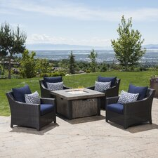 Deco 5 Piece Deep Seating Group with Fire Table