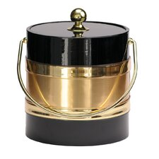 Black 3 Qt. Ice Bucket with Gold Center Design