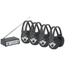 Multi Frequency 4 Station Wireless Listening Center with Headphones and Bluetooth Transmitter