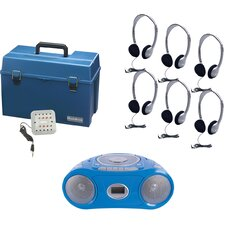 6 Piece Person Listening Center Set with Bluetooth/CD/Cassette/FM Boombox and Personal On-Ear Headphones