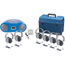 6 Piece Person Listening Center Set with Bluetooth/Cassette/CD/FM Boombox and Deluxe Over-Ear Headphones