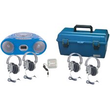 4 Piece Person Listening Center Set with Bluetooth CD/Cassette/FM Player Boombox and Deluxe Over-Ear Headphones